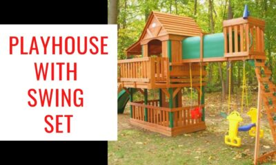 Playhouse With Swing Set